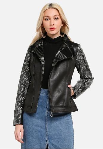 Desigual black Slim Tartan Biker Jacket 85113AAADBBC2CGS_1