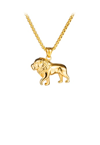 Glamorousky silver Fashion Domineering Plated Gold Lion 316L Stainless Steel Pendant with Necklace 4B0B3AC3D6369AGS_1