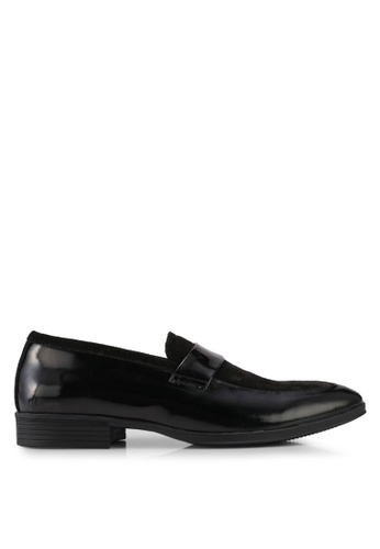 ACUTO black Leather Loafers AC283SH0SL7GMY_1