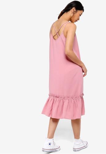 Something Borrowed 粉紅色 後荷葉飾滾邊洋裝 F6962AA82B2B1EGS_1