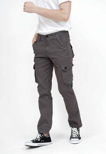 House of Cuff grey Celana Panjang kargo Pria Slim Fit Cargo pants kantong stretch melar abu tua 568B2AA216EF4FGS_1