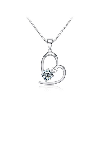 Glamorousky white Simple 925 Sterling Silver Heart-shaped Pendant with White Cubic Zircon and Necklace 03B70ACC0CD9B8GS_1