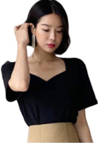 Sunnydaysweety black Fashion V-Neck Slim T-Shirt Tops A21051322 055D4AA31AFA65GS_1