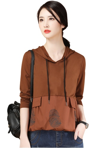 A-IN GIRLS brown Loose Stitching Hooded Sweater T-Shirt 4EF0AAA26C98ACGS_1