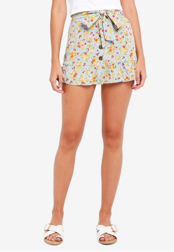 TOPSHOP blue Floral Button Skirt 55A40AA16FD814GS_1