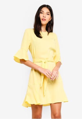 ZALORA yellow Ruffle Hem Dress CCCDCAAEBCD2D5GS_1