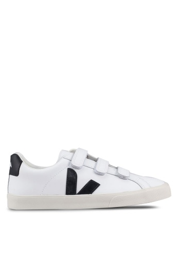 Veja black and white 3-Lock Logo Leather Sneakers FD972SH350149AGS_1