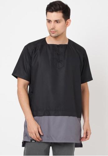 Haq Muslimwear black and grey HAQ Omar Shanghai Button Shirt 0ED7EAAD1E05A1GS_1