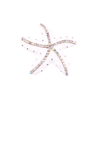 Glamorousky white Simple and Fashion White Starfish Brooch with Cubic Zirconia 9DE75AC6CCC208GS_1