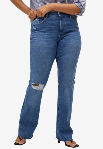 Violeta by MANGO blue Plus Size Bootcut Martha Jeans C7FD3AAC57CAF8GS_1