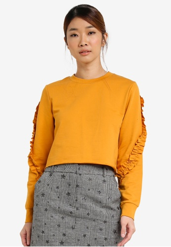 Miss Selfridge yellow Petite Ruffle Sleeve Sweatshirt MI665AA0SD8OMY_1