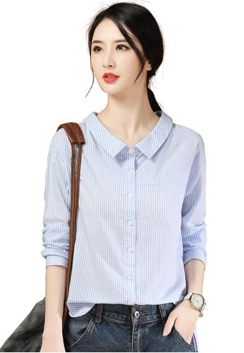 A-IN GIRLS blue Fashion Loose Striped Shirt C9187AAB41421CGS_1