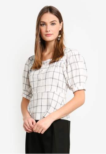 bYSI white Grid Buttons Square Neck Top DCEBEAA39EC532GS_1
