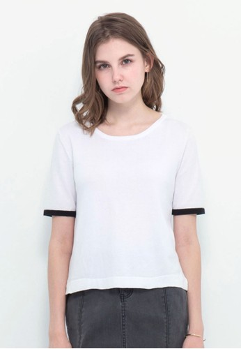 Kodz white Knit Blouse With Back Cut Out Detail 9F0E1AA32F4C4DGS_1