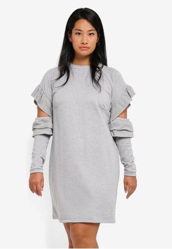 LOST INK PLUS grey Plus Size Sweat Dress With Ruffle Open Sleeves LO776AA0SZ51MY_1