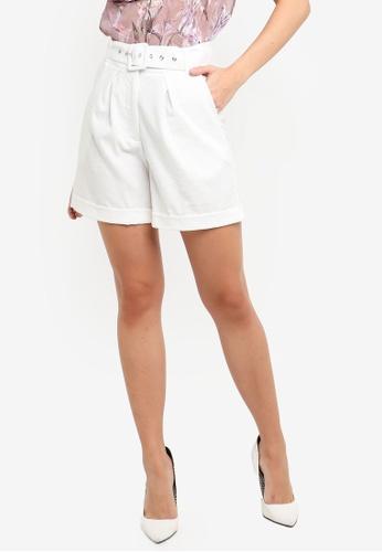 FORCAST white Liliana Buckle Waist Shorts E8B89AA4F269D8GS_1