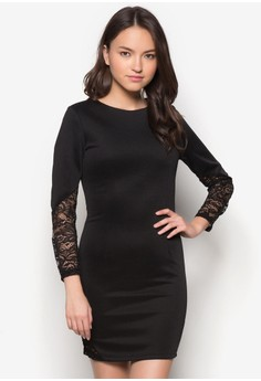 Lace Insert Fitted Dress