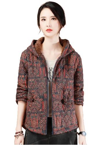 A-IN GIRLS multi Vintage Print Plus Velvet Warm Jacket 73BA5AA4697566GS_1