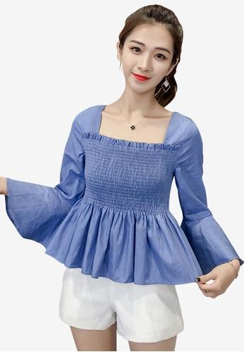 hk-ehunter blue Women Tie Back Flare Sleeves Square Neck Blouse Top 6D8E8AA0EC9BADGS_1