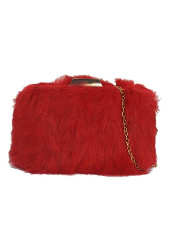Dazz red Fur Clutch - Red 73347AC17E0F6AGS_1