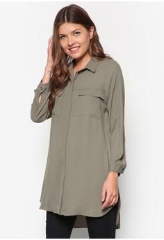 Petite Khaki Longline Shirt