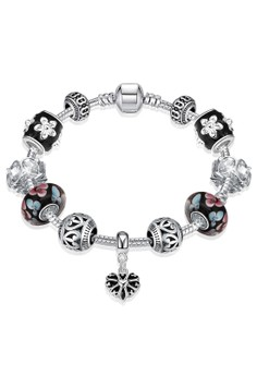 H035 Retro Flower Printed Black Enamel Lucky Beads DIY Bracelet (Silver Pleated)