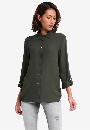 Dorothy Perkins green Tab Roll Sleeve Shirt AB326AAF208250GS_1