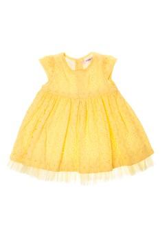 Infant Cap Sleeved Dress with Tulle Hem