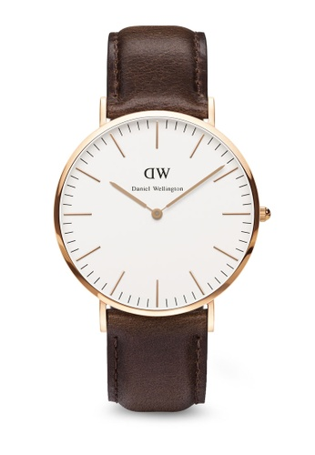 Daniel Wellington brown Classic Bristol-Watch Rose gold 40mm DA376AC17PTMMY_1