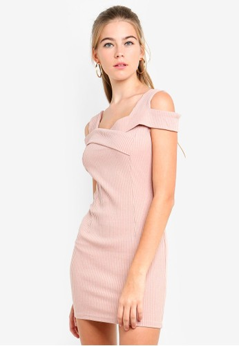 Eyescream pink Cold Shoulder Bodycon Mini Dress 917EAAA7C7A887GS_1