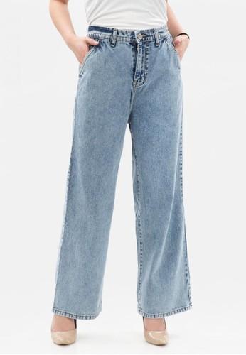 MKY CLOTHING blue Elastic Waist Culotte Jeans in Aqua CFBC3AA72D8573GS_1