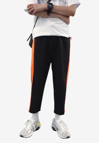 hk-ehunter black Men Stripe Knit Calf-Length Pants 83541AAB2C0333GS_1