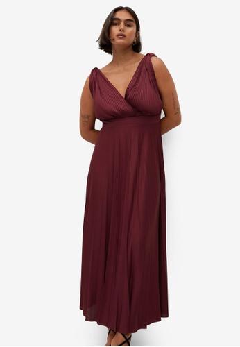 Violeta by MANGO red Plus Size Pleated Midi Dress B9FBEAA227D2EEGS_1