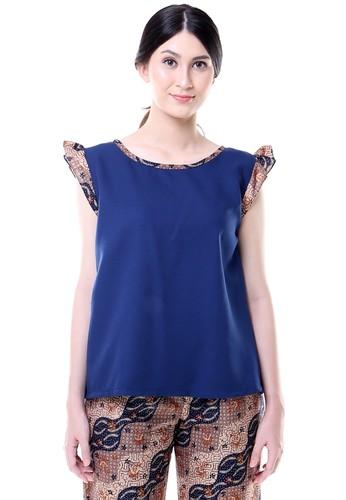 DhieVine Batik blue and multi Rasario Frills Batik Blouse 0C7B9AAED03EC7GS_1