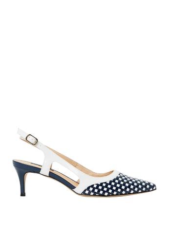 Nina Armando white and navy Harper Patent Leather Slingback Low Heel NI342SH0FV8YSG_1