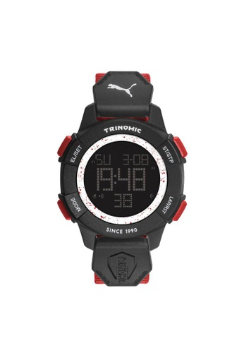 PUMA red Puma Trinomic - Red Fabric Strap - Black Case (PU911271005) PU440AC23GOUSG_1
