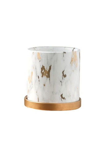 DILAS HOME Gold x Marble Effect Plant Pot with Tray - Large FDAFCHL6DA86F2GS_1
