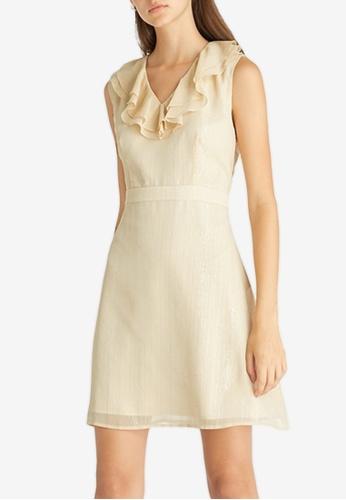 Pomelo beige Neck Frill Accent Sleeveless Dress - Cream C7EEDAAEDFA4D4GS_1
