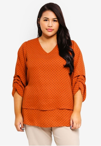 Ex'otico brown Plus Size Polkadot V-Neck Blouse 4FFE9AAB99025EGS_1
