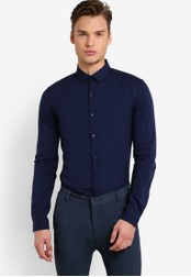 Topman navy Navy Stretch Skinny Fit Smart Shirt TO413AA02FUBMY_1