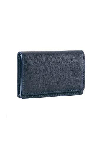 Maverick & Co. blue and navy Maverick & Co. Sartorial Leather Business Card Case Navy BB6E1AC91E169EGS_1