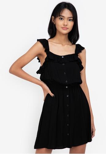 ZALORA BASICS black Ruffle Detail Mini Dress 63F12AAFB8DE70GS_1
