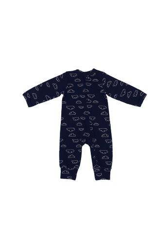 Baby Lovett navy Dreamy Clouds Two-Way Zipper Suit 3D16EKA1998BE9GS_1