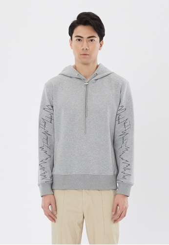 Flawless Flashbacks. Gray Signature Embroidered Hoodie D4D34AA9BBD94EGS_1