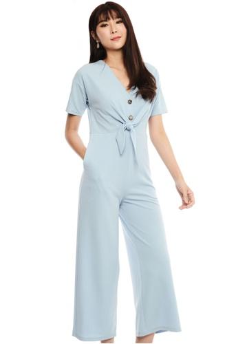 Nichii blue V-Neck Waist Tie Jumpsuit 10029AA3F594E9GS_1