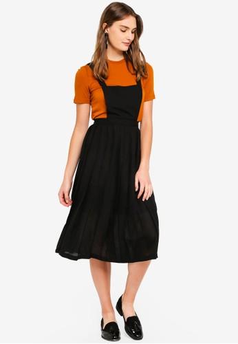 Hopeshow black Plain Dungaree Dress E04BCAA6D9A083GS_1