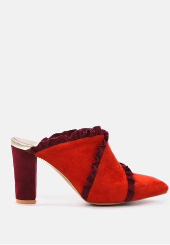 London Rag red Slay by London Rag High Heel Pointed Mule with Ruffles 074CFSHA1211D6GS_1