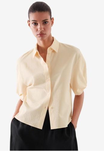 COS yellow Seersucker Short-Sleeve Blouse C24E3AA7D39FD9GS_1