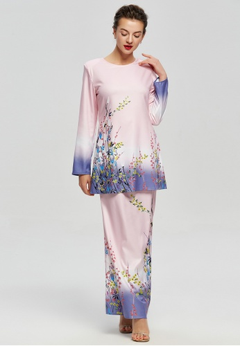 Joy of Spring Floral Prints Kurung from Era Maya in pink and Purple