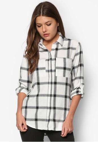 格紋長袖襯衫zalora 內衣, 服飾, 襯衫
